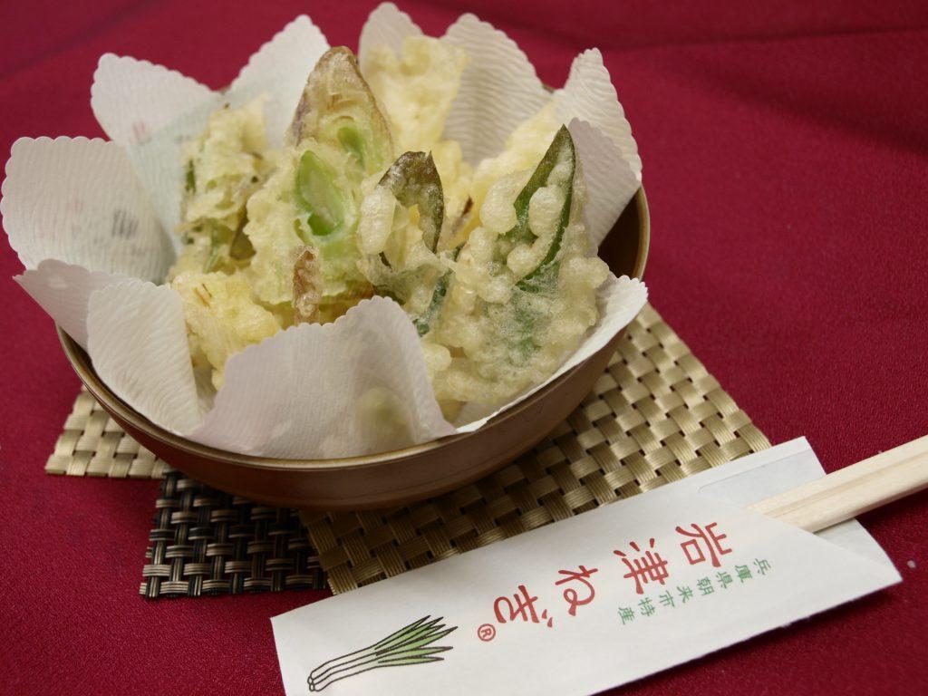 岩津ねぎの天ぷらは産地である兵庫県朝来市の農家さんイチオシの逸品です。